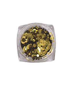 Nail Art Glitter Circles - Gold