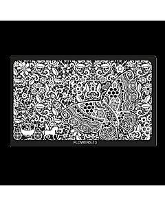 Plaque de Stamping Rectangulaire Flowers-13 (6,5'' x 4'')
