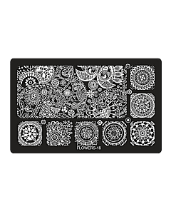 Plaque de Stamping Rectangulaire Flowers-18 (6,5'' x 4'')