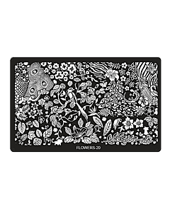 Plaque de Stamping Rectangulaire Flowers-20 (6,5'' x 4'')
