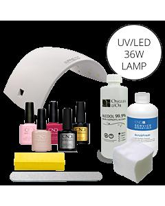 Shellac CND UV polish starter kit + 36W UV/LED lamp (110V)