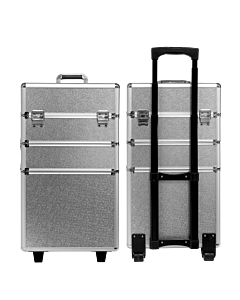 Suitcase 3 sections silver arabesque pattern (Big: 35x25x68c
