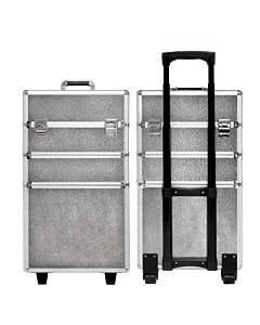 Suitcase 3 sections silver leather texture (Big: 35x25x68cm)