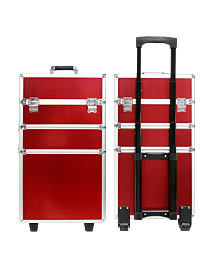Suitcase 3 sections embossed red color (Big: 35x25x68cm)