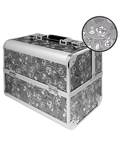 Suitcase Flower Design Silver (Embossed)
