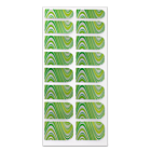 Nail Wrap Foil Stickers - Curves - Green/Yellow/Silver #106
