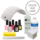 Shellac CND UV polish starter kit + 36W UV/LED lamp (110V)