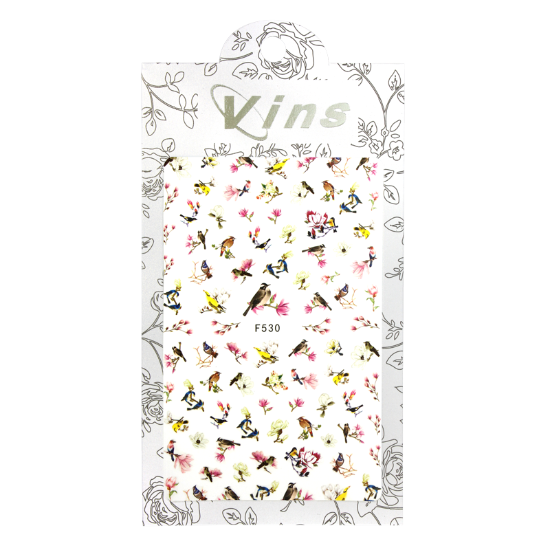 3-D Nail Sticker model Birds and Flowers F530