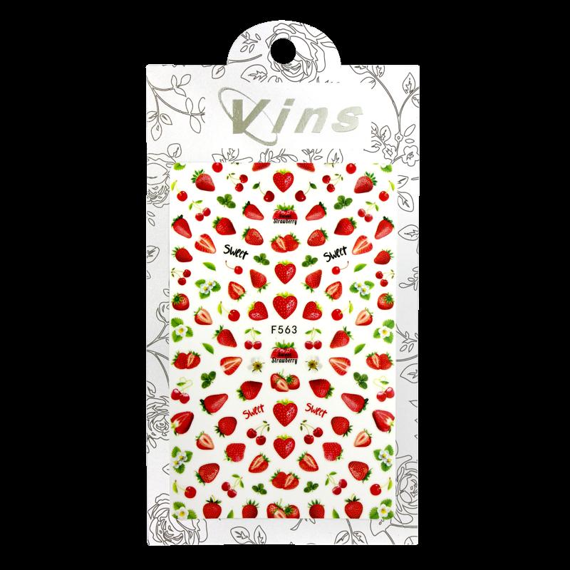3-D Nail Sticker model Strawberries F563