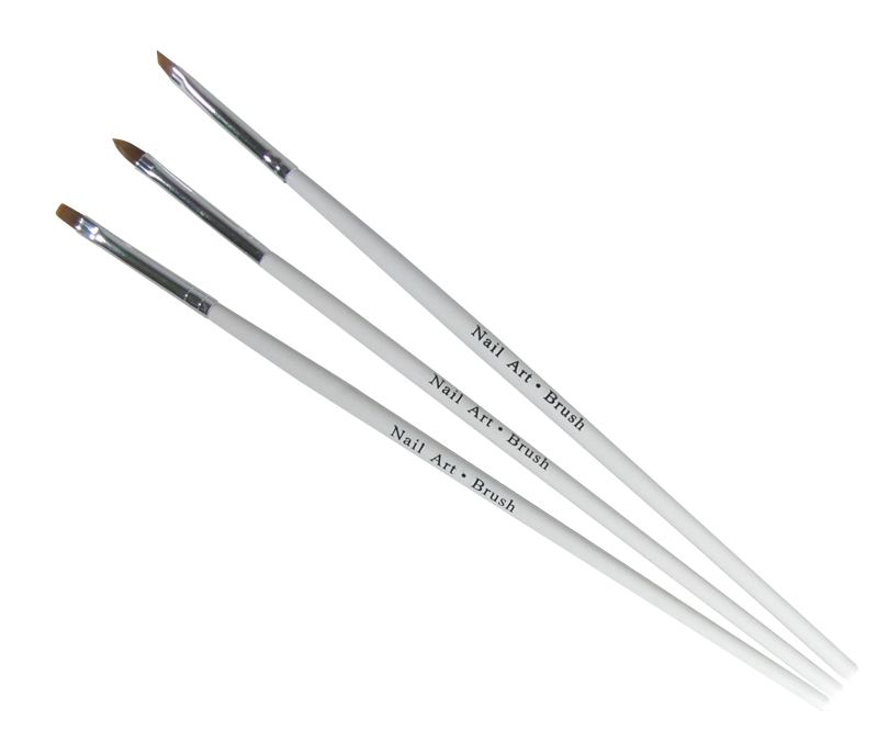 UV Gel Brush Set White Handle Square/Angle/Oval #2