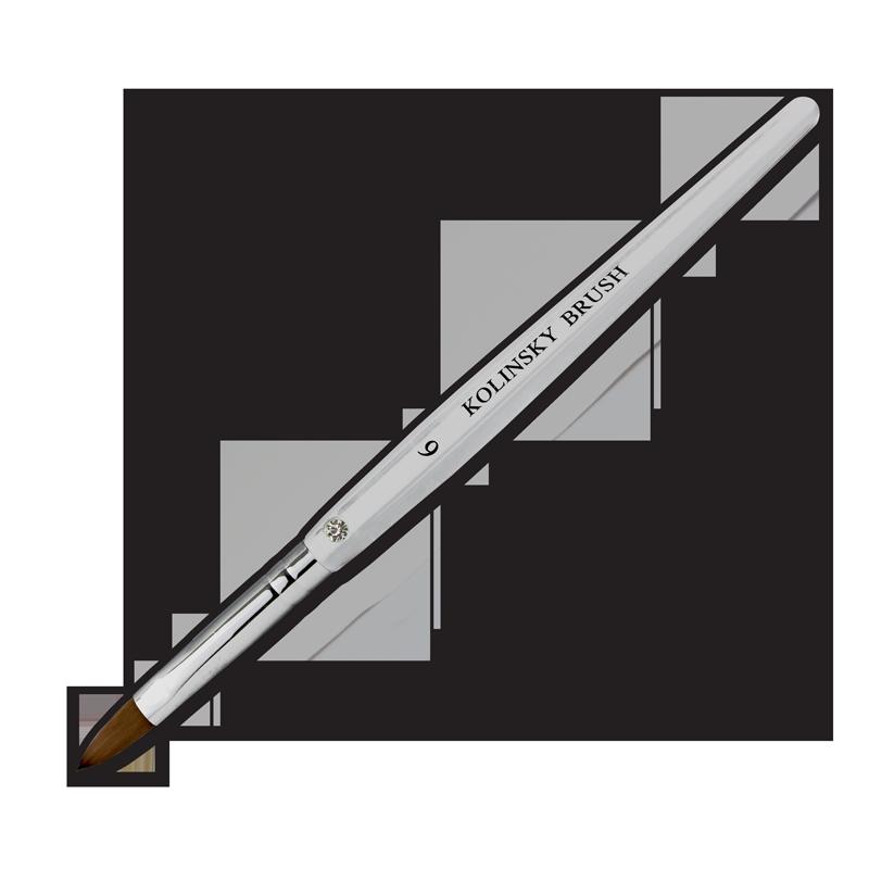 Kolinsky Acrylic Brush Flat Ferrule #6
