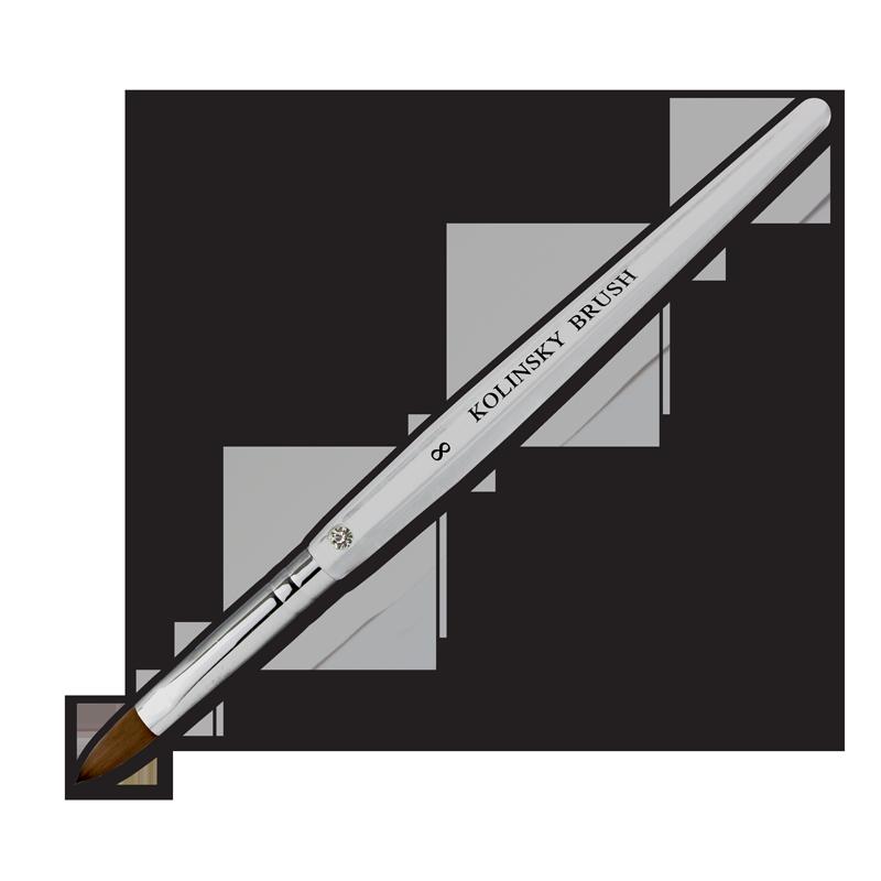 Kolinsky Acrylic Brush Flat Ferrule #8