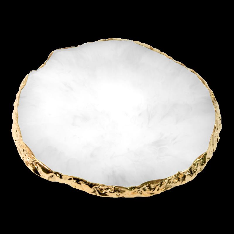 Nail Art Round Resin Stone Plate - White