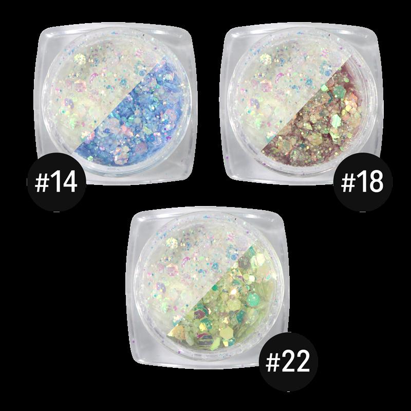 UV Changing Glitter Powder Kit of 3pcs (B14, B18, B22)