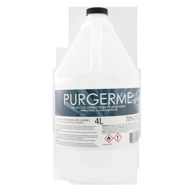 Purgerme Gel Alcool Antibactérien pour Mains 4L (70% Alcool)