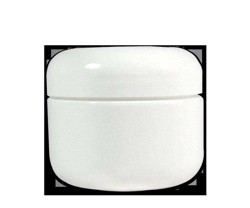Pot Vide en Plastique Blanc avec Couvercle 1 oz.