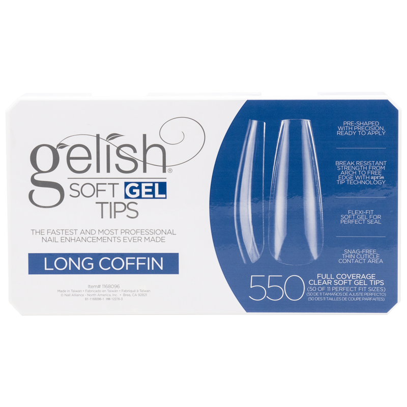 Gelish Soft Gel Tips - Long Coffin (550pcs)