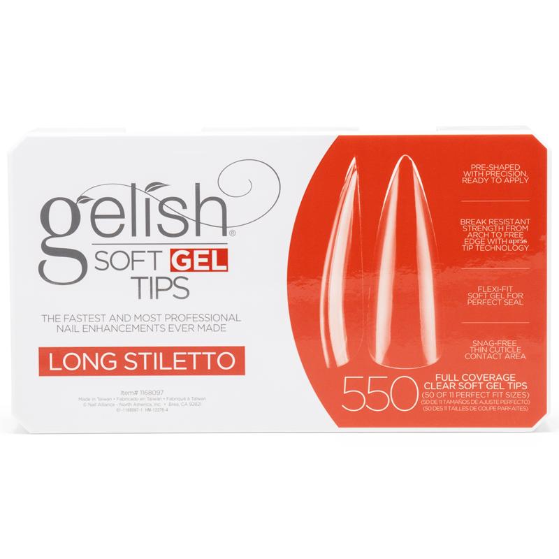 Gelish Soft Gel Tips - Long Stiletto (550pcs)