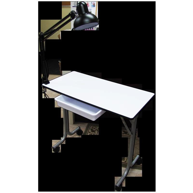 Table de Manucure Blanche Pliable Rectangulaire avec Lampe
