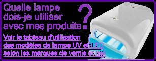 Tableau d'utilisation des lampes UV et LED selon les marques de vernis et gel